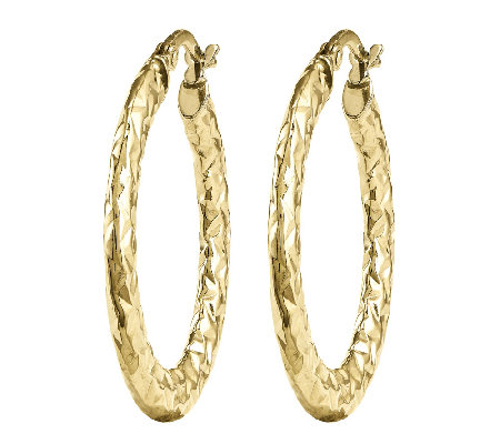 Polished Diamond-Cut Oval Tube Hoop Earrings, 14K Yellow Gold