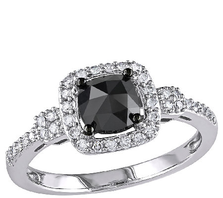 Cushion Black Halo Diamond Ring, 14K Gold, 1cttw, by Affinity