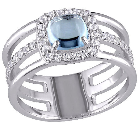 2.00cttw Blue & White Topaz Triple Row Ring, Sterling
