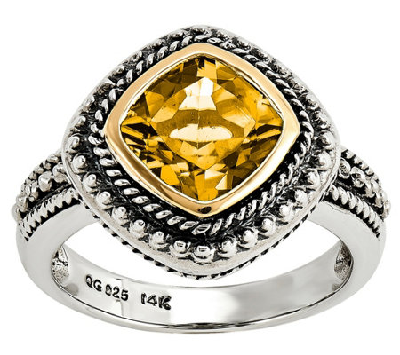 Sterling and 14K Gold Bezel-Set Gemston e Ring