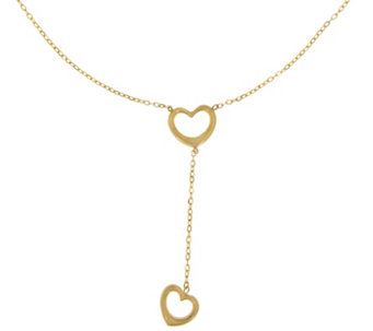 Vicenza Gold Polished Open Hearts Y-Necklace, 14K - J342445