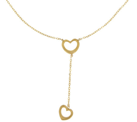 Vicenza Gold Polished Open Hearts Y-Necklace, 14K