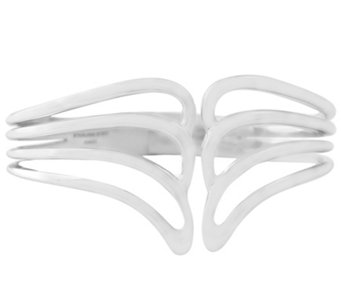 Sterling Wave Design Hinged Cuff b y Silver Style - J342645