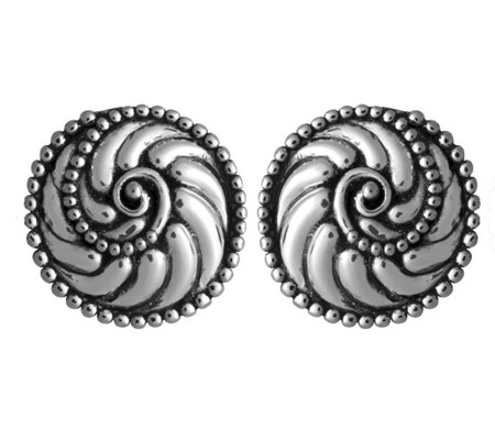 Sterling Silver Beaded Scroll Design Earrings by Or Paz