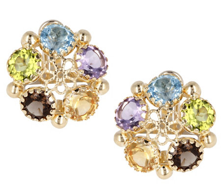 Arte d'Oro 10.0 cttw Multi-gemstone Earrings, 18K