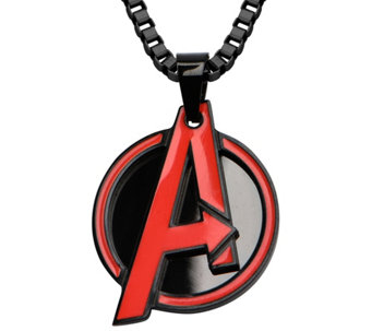 Marvel Stainless Steel Red Avengers Pendant w/Chain - J343045