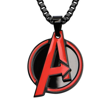 Marvel Stainless Steel Red Avengers Pendant w/Chain