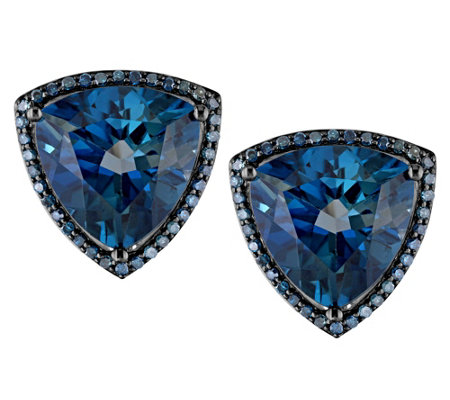 10.00 London Blue Topaz & 1/4 cttw Diamond Earrings, 14K