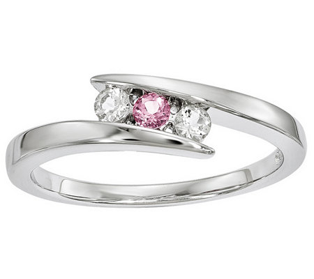Sterling Clear & Pink Swarovski Topaz Circle ofStrength Ring