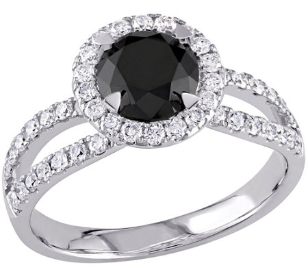 Round Black Diamond Ring, 14K, 1.50 cttw, by Affinity