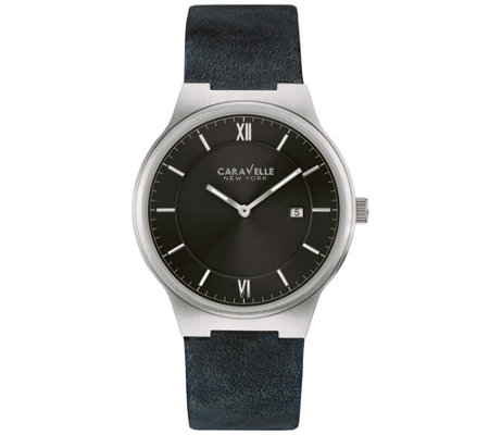 Caravelle New York Men's Classic Black LeatherStrap Watch