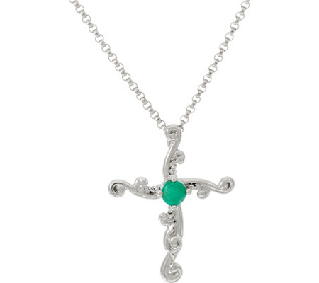 Carolyn Pollack Sterling Silver Birthstone Cross Necklace
