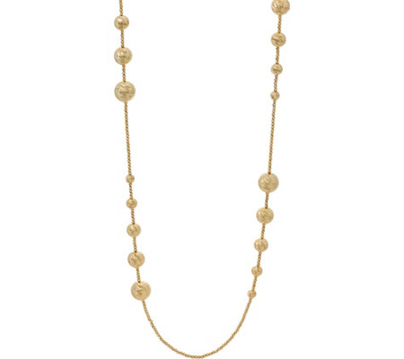 "Italian Gold 36"" Diamond Cut Bead Necklace 14K Gold 29.1g"