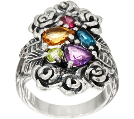 Or Paz Sterling Silver 1.30 cts. Multi-gemstone Bouquet Ring