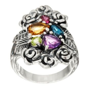 Sterling Silver 1.30 cts Multi-gemstone Bouquet Ring by Or Paz