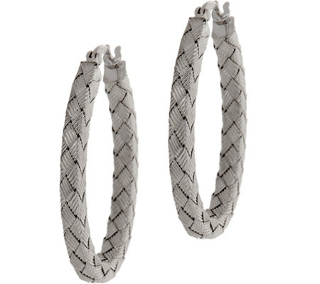 Sterling Silver Woven Texture Hoop Earrings by Silver Style