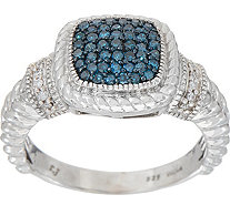 Colored Diamond Cushion Ring, 1/4 cttw, Sterling, by Affinity - J352045