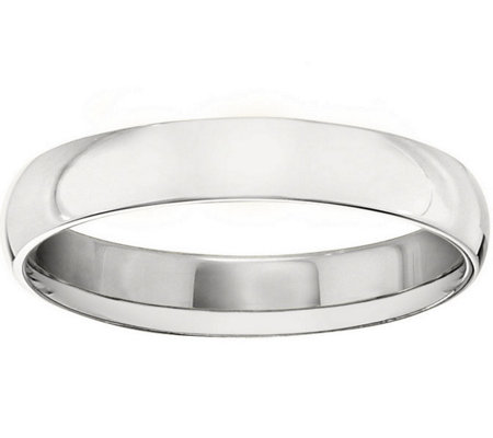 Men's 18K White Gold 4mm Half-Round Wedding Band