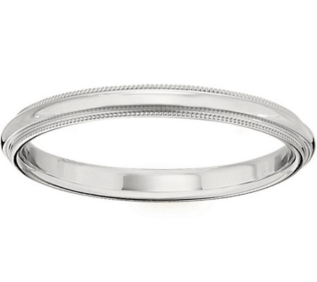 Women's 14K White Gold 2.5mm Milgrain Wedding Band
