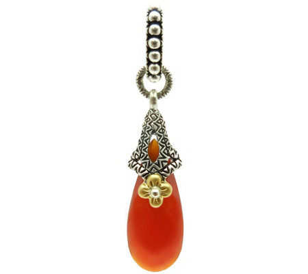 Barbara Bixby Sterling & 18K Carnelian Drop Pendant