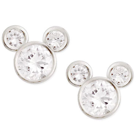 Disney Sterling Silver Diamonique Mickey Stud Earrings