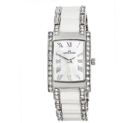 Ak anne klein women 39 s swarovski crystal white ceramic watch for Anne klein swarovski crystals