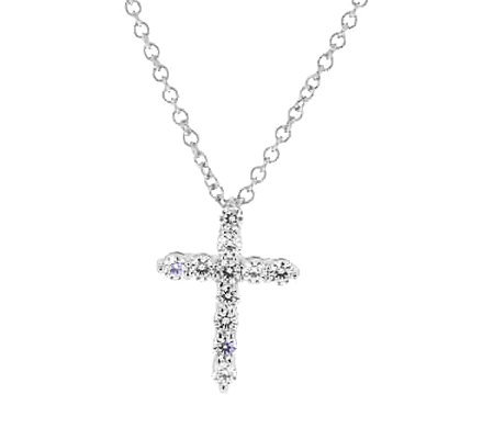 Diamonique Petite Cross Pendant w/ Chain, Platinum Clad