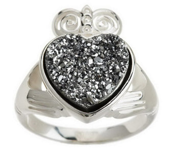 """As Is"" JMH Jewellery Sterling Silver Claddagh Drusy Quartz Ring - J152746"