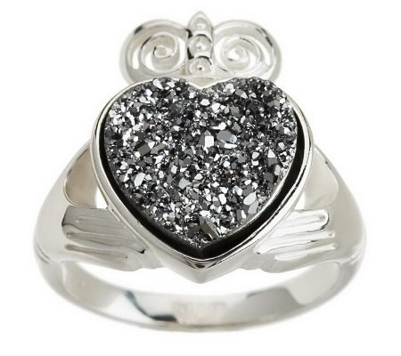 """As Is"" JMH Jewellery Sterling Silver Claddagh Drusy Quartz Ring"