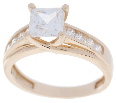Diamonique 1.45 ct tw Princess Cut Ring w/Accents 14K Gold