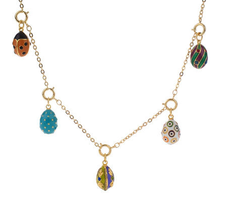 Joan Rivers Enamel and Crystal Egg Necklace