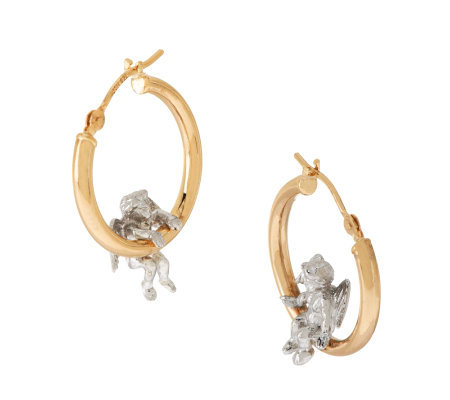 Peter Brams Two-tone Cherub Round Hoop Earrings 14K/Sterling