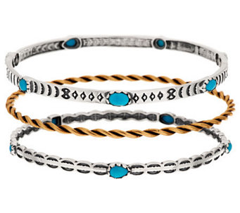 American West Set of 3 Sleeping Beauty Turquoise & Brass Bangles - J283146