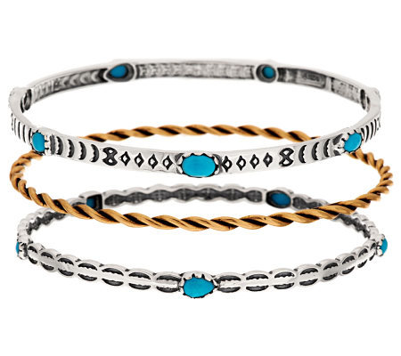 American West Set of 3 Sleeping Beauty Turquoise & Brass Bangles