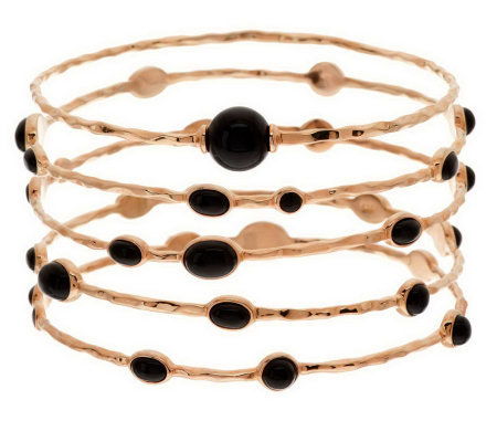 """As Is"" Veronese 18K Clad Average Set of 5 Onyx Station Bangles"