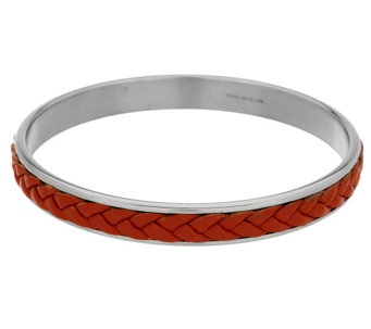 Stainless Steel Braided Leather Slip-on Bangle - J287846