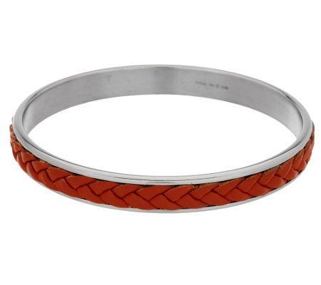 Stainless Steel Braided Leather Slip-on Bangle