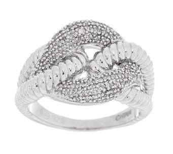 Textured Curb Link Diamond Ring, Sterling 1/5 cttw by Affinity - J289146