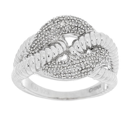 Textured Curb Link Diamond Ring, Sterling 1/5 cttw by Affinity