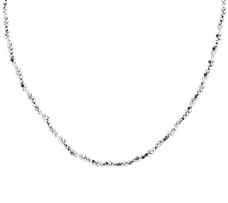 "VicenzaSilver Sterling 36"" Diamond Cut Twisted Bead Necklace, 12.5g"