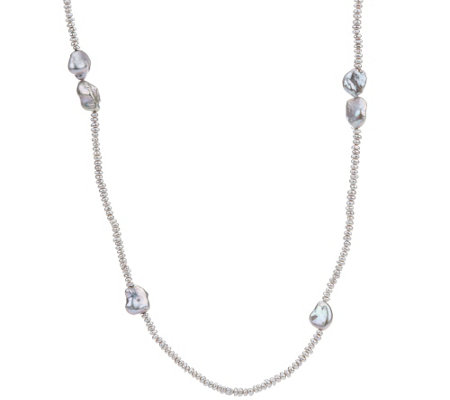 "Honora Keshi & Rondel Cultured Pearl 48"" Sterling Necklace"