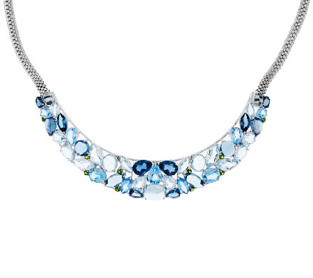 Multi-Gemstone Bold Sterling Silver Necklace 58.00 ct tw