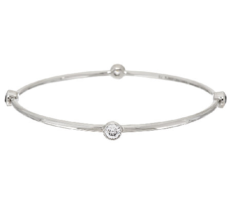 Diamonique 2.00cttw Bezel Set Stainless Steel Bangle