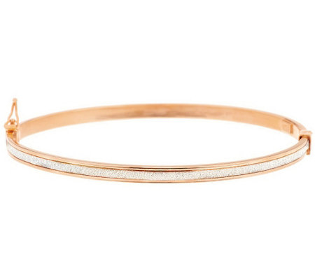 """As Is"" VicenzaGold Average Pave' Glitter Oval Bangle,14K"