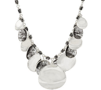 Michael Dawkins Sterling High Polished Petal & Tourmalinated Quartz Necklace - J296846