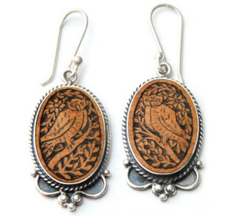 "Novica Artisan Crafted Sterling ""Solemn Owl"" Earrings - J298546"