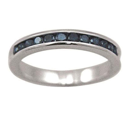 Blue Diamond Band Ring, Sterling, 1/2cttw, by Affinity
