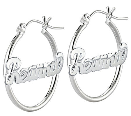 Sterling Silver Small Hoop Name Earrings