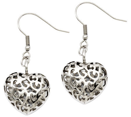 Stainless Steel Puffed Heart Dangle Earrings