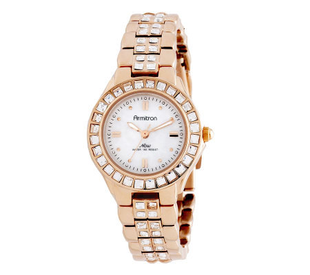 Armitron Women's NOW Swarovski Accent RosetoneDress Watch